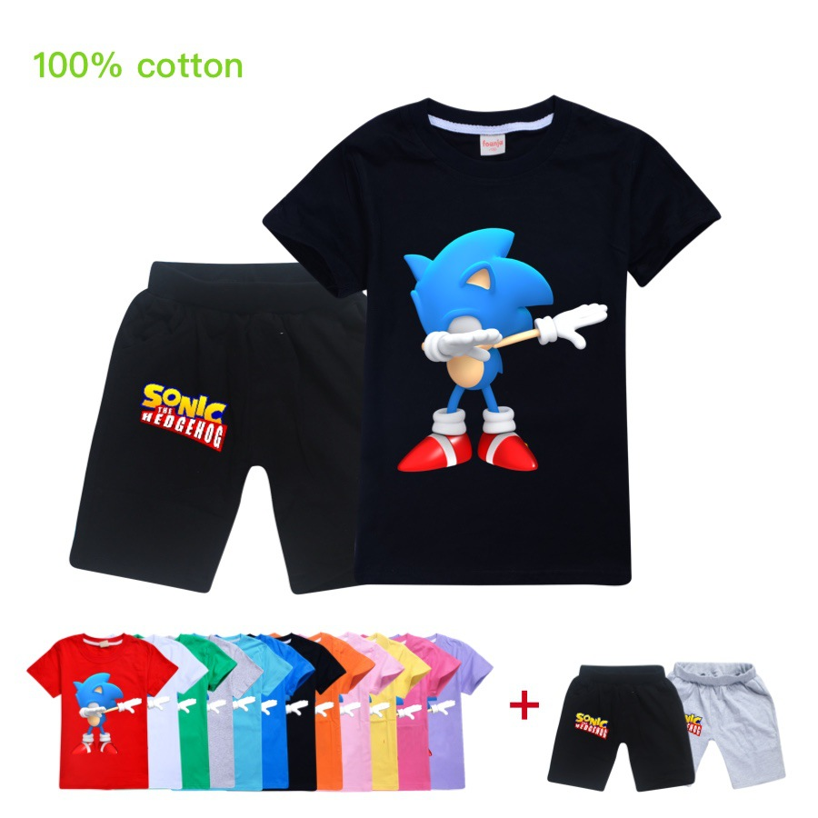 2020 Happy Birthday T Shirt Sonic Hedgehog T Shirt Children Boys Girls Cartoon Game T Shirt Kids Clothes Top Pants 2pc Suit Clothing Sets Aliexpress