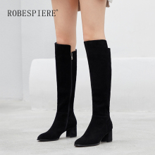 ROBESPIERE New Pop Round Toe Knee High Boots Women Quality Cow Suede Square Heel Shoes Winter Warm Plush Zipper Ladies Boots B63 цена