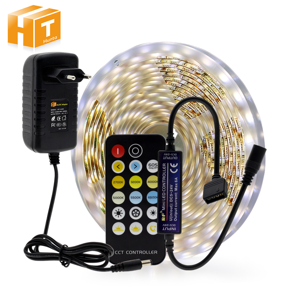 Double White LED Strip Light 5025 Cold White + Warm White LED Strip 5M + CCT Remote Controller +12V 3A Power Supply