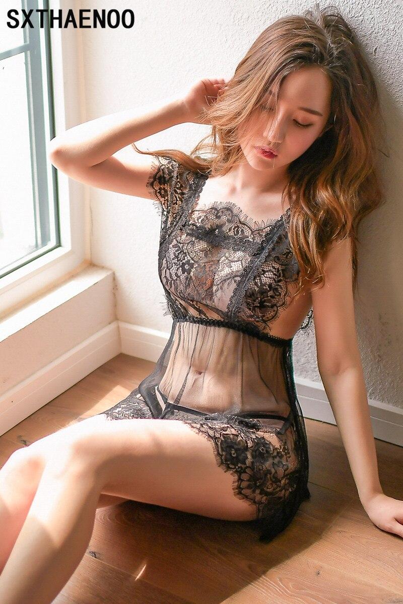 Женское кружевное ночное белье SXTHAENOO, прозрачная ночная рубашка мини, ночная рубашка, сексуальное платье Ночная рубашка белого и черного цв...