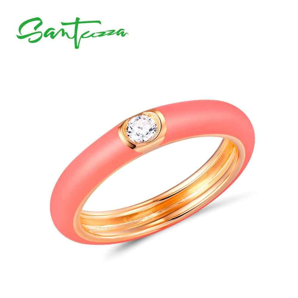 SANTUZZA 925 เงินสเตอร์ลิงแหวนผู้หญิงสีสันสดใสเคลือบ STACKABLE แหวน Eternity แหวนทองสี Fine เครื่องประดับทำด้วยมือ