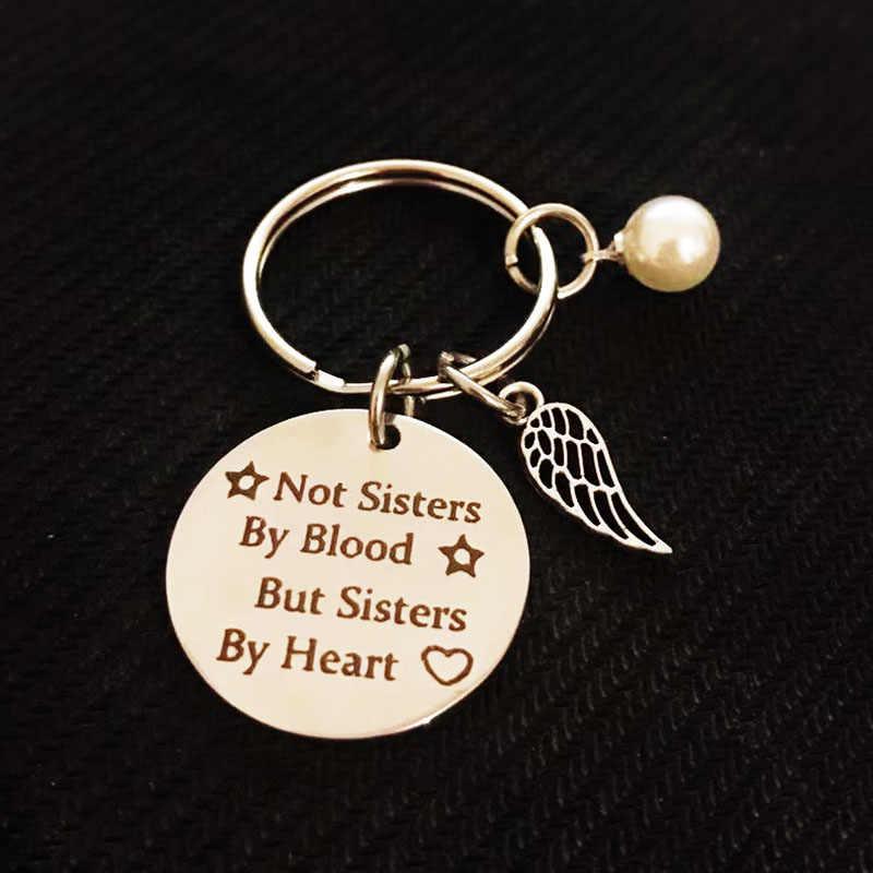 1 unidad de buen llavero de amistad, no con la sangre sino con el corazón, colgante grabado para llavero de coche, joyería de la amistad