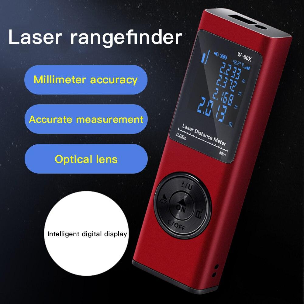 Measurer Laser Distan Finder Laser USB Rangefinder Laser Meter Laser Rechargeable 80m Range Tape Tool Digital Mini Distance