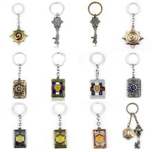 Hearthstone Keychain Zinc Alloy Logo Keychains Heros of Warcraft Card Car Keyring Chaveiro Llaveros Game Key chain Jewelry Gift newest movie jewelry game of thrones key chain house stark targaryen keychain keyrings gift jewelry