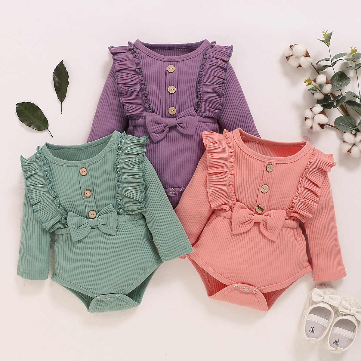 Toddler's Spring Autumn Clothes Solid Color Ruffle Long Sleeves Ribbed Rompers with Bowknot for Baby Girl  0-18 Months