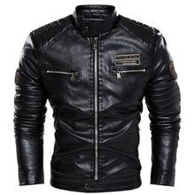 Cross-border men's jacket 2021 new pu jacket European and American motorcycle clothing British fashion plus cashmere youth leath