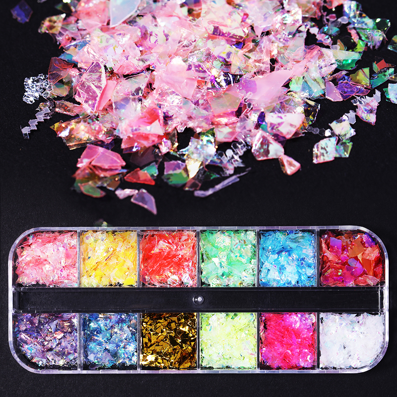 Nail Flakies Nails Accessories Shell Foil Flakes Holographic Nail Paillette Tips Decoration 3D Nail Art Decorations 12 Colors