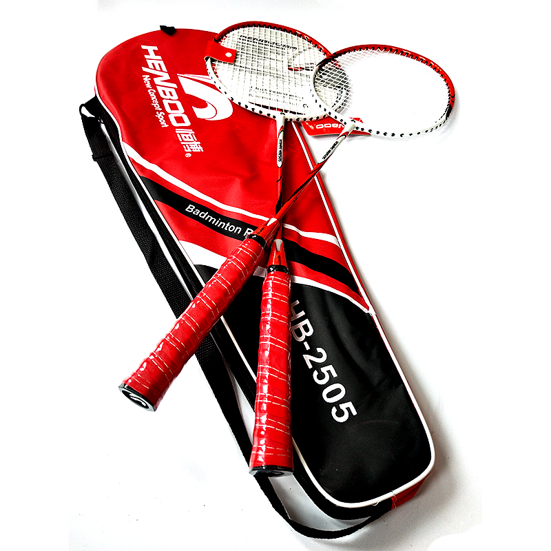 HENBOO Durable Badminton Racket Set Iron Alloy Family Double Professional Badminton Racket Lightest Standard Use Badminton 2503