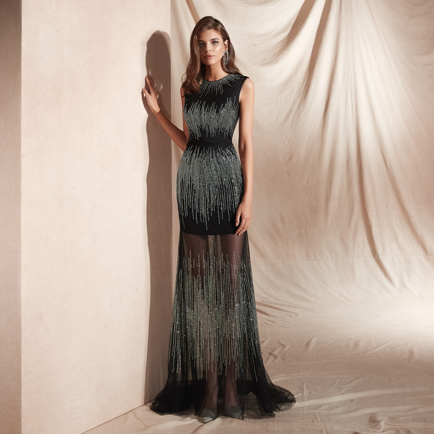 Formal Evening Dress Prom Gown Women's Sexy Mermaid Long Prom Dresses Sequins Illusion Evening Gowns