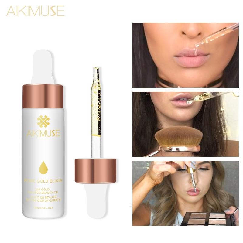 Kimuse ouro rosa elixir óleo essencial maquiagem primer lábios base de rosto compõem vitamina hidratante fácil de absorver cuidados com o rosto