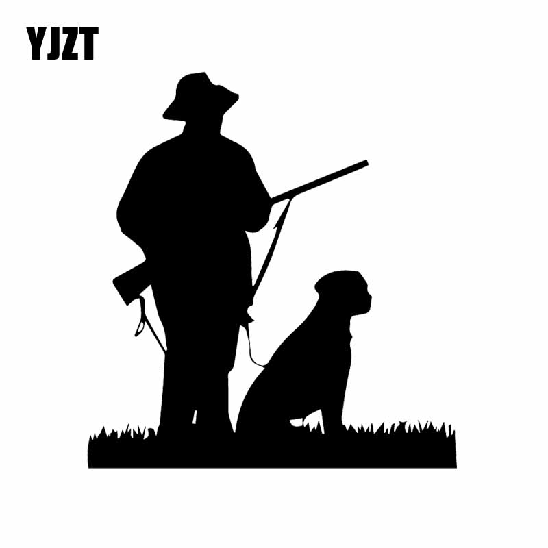 YJZT 14.6X15.7CM Creative Vinyl Decal Hunter Dog Hunting Art Car Sticker Decor Black/Silver C24-1426