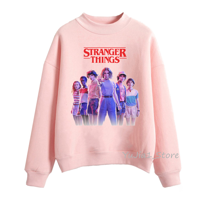 Sudadera Mujer Stranger Things 3 Sweatshirts Autumn Winter Clothes For Women Velvet Hoody Pink Hoodie Harajuku Kawaii Pullover