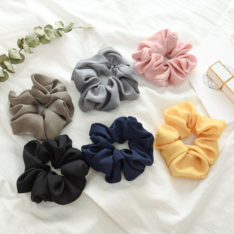 6 Colors Pure Color Elastic Hair Rope Fashion Solid Color Chiffon Headbands Ponytail Holder Elastic Hair Rope For Women Gifts