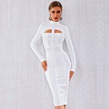 Inverno outono feminino elegante celebridade festa bodycon bandage vestido branco manga longa o pescoço oco para fora sexy boate vestidos