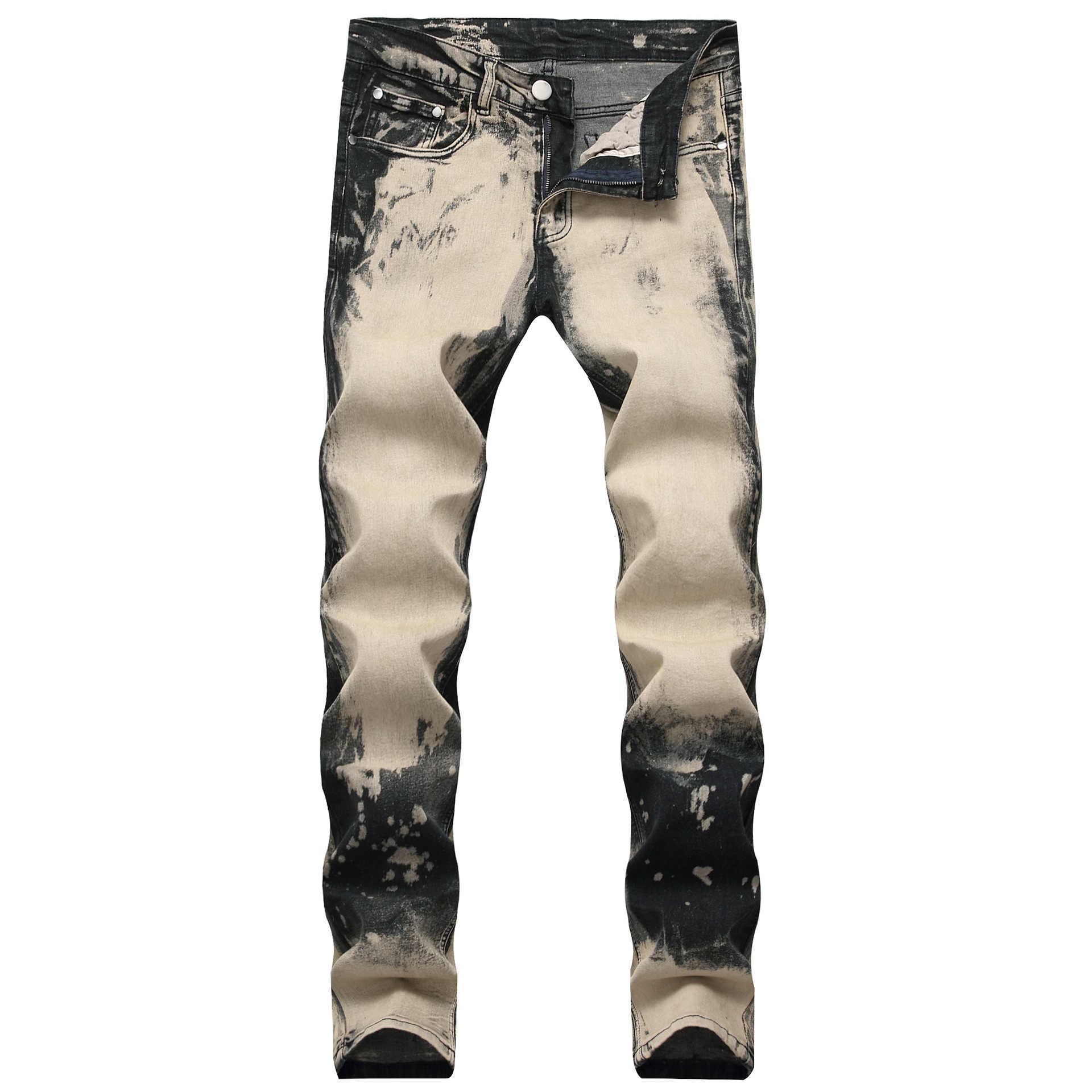 New Man Jeans Ripped Jeans for Men Color Printing Design Creative Personality European and American Style Jeans Men