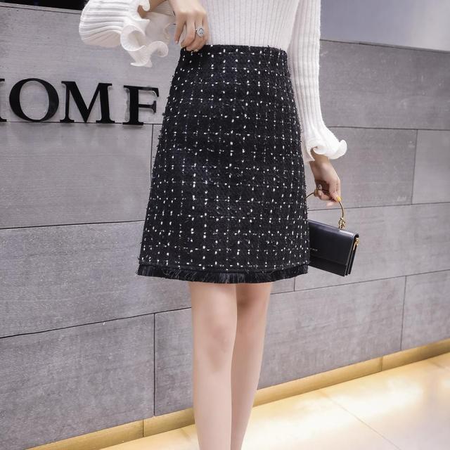 Schwarz Tweed Röcke Frauen Quaste Herbst Mini Bleistift Röcke Plaid Wolle Röcke Koreanische Hohe Taille Elegante Büro Dame Rock V935