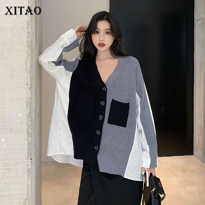 XITAO Slim Women Blouse Women Korea Fashion New Patchwork 2019 Autumn V Neck Patchwork Elegant Pocket Casual Shirt  GCC1509