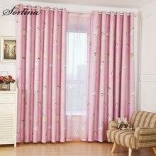 Затемненные розовые занавески на окна для комнаты, готовые для детской спальни, гостиной, двери, занавески для девочек, тюлевые занавески с мультяшным принтом