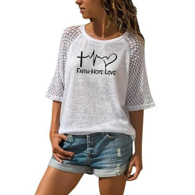 Faith Hope Love Letters Printed T-Shirt For Women Lace Crew Neck T-Shirt Top T-Shirt 1