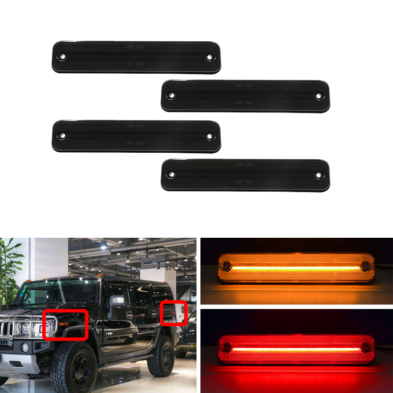 4x Smoke Led F&R Side Marker Lights For Hummer H2 2003-2009 OEM 25952319 Amber Red Turn Signal