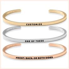 SG Personalized 925 sterling silver Engraved Custom Name Open Bracelet Jewelry Letters Bracelet&Bangle For Women men