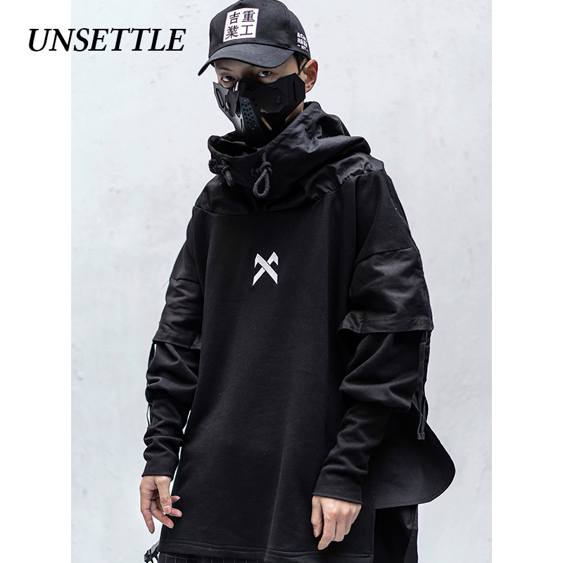 UNSETTLE 2020SS Japanese Men/Women Harajuku Ninja Tactics Fake Two Hoodies Printing Coats Hip Hop Streetwear Jacket Male Tops