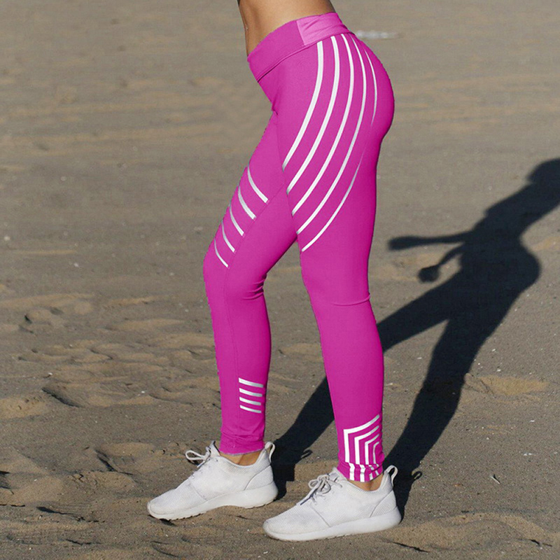 New Woman Fitness Stripe Printing Sports Leggings New Pants Women Running Suits Workout Slim Fit Women Pants Leggins Sports