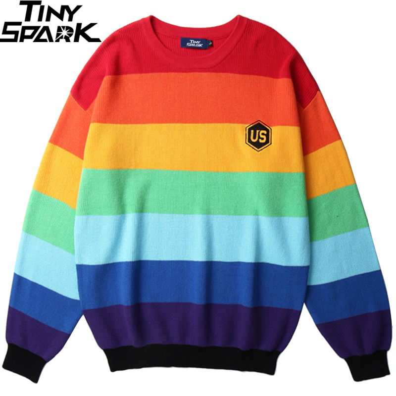 Men 2019 Hip Hop Knitted Sweater Striped Rainbow Color Block Streetwear Sweater Pullover 2019 Harajuku Embroidery Sweater Cotton