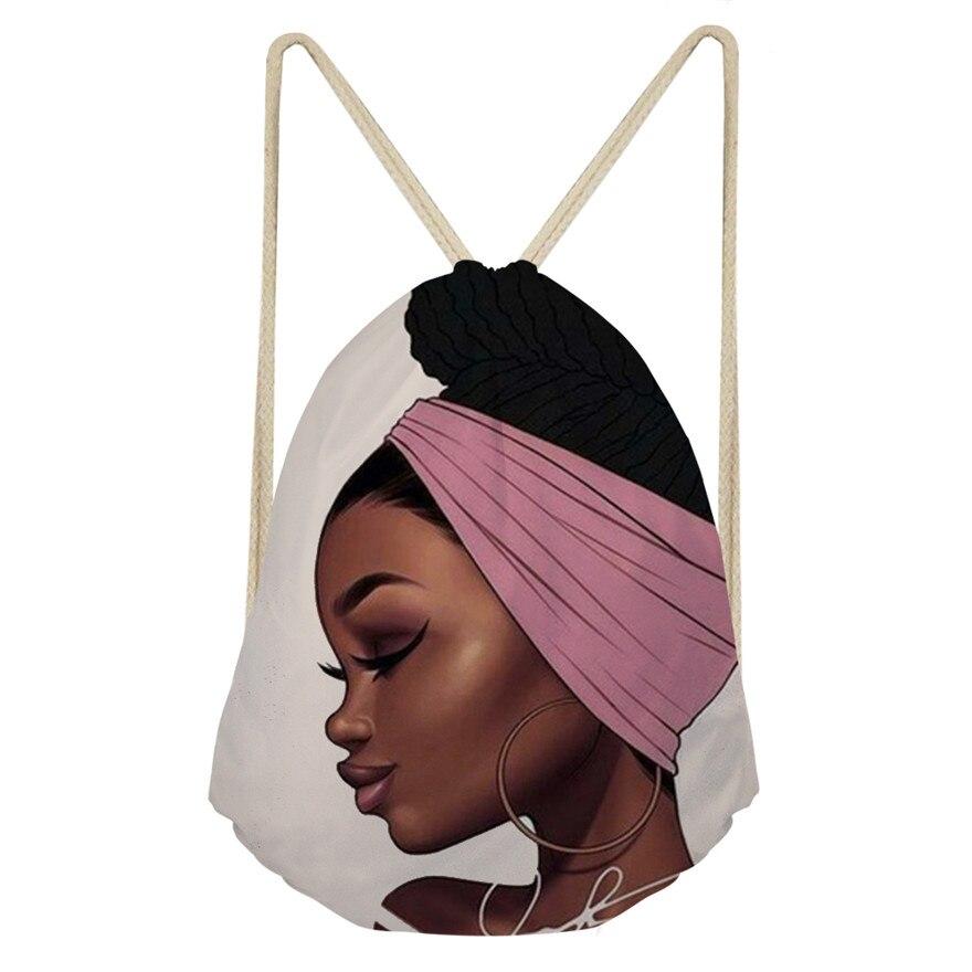 Cusotm Print Black Art African Girl Printing Drawstring Bags Women Ethnic Style Beach Shoulder Bag Ladies Drawstring Bagpack