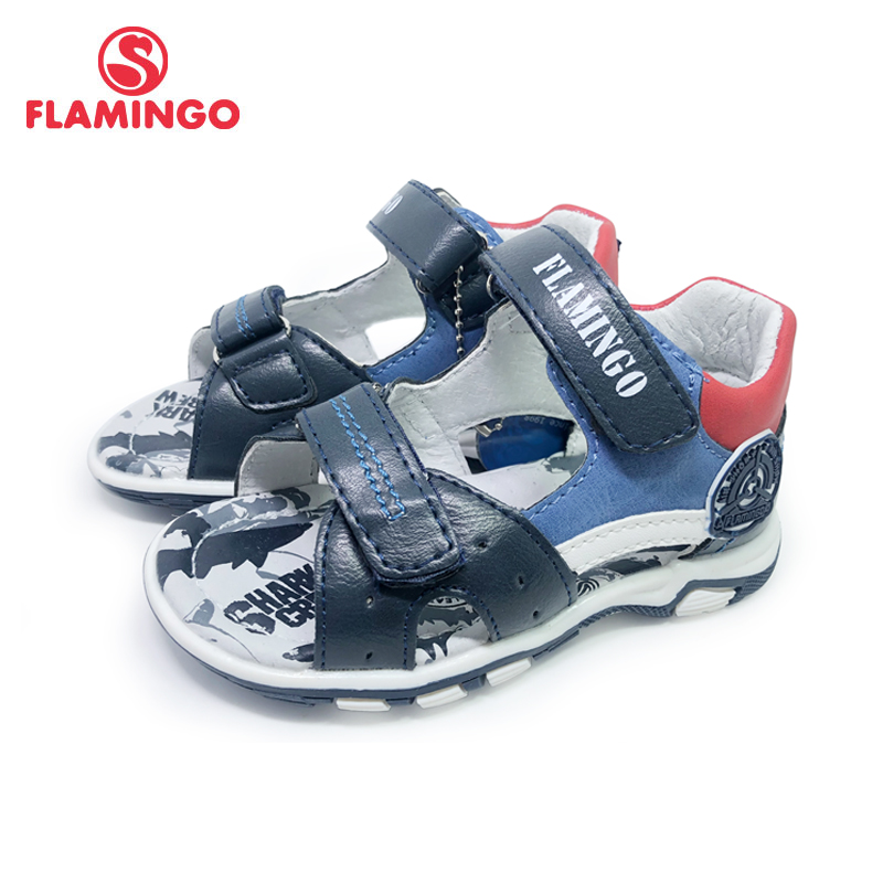 FLAMINGO Brand Summer Children Shoes Leather Insole Closed Toe Outdoor Sandals For Kids Boy Size 22-27 FreeShipping 201S-DK-1818