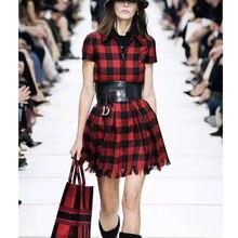 Cosmichic Autumn Winter 2019 Red Plaid Dress Shirt Zipper Dr