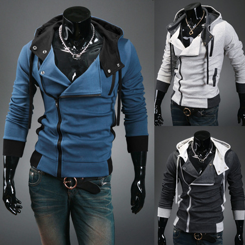 Korean-style Slim Fit Woven Nap Mixed Colors Hoodie Coat Men Oblique Placket Hoodie Plus-sized Assassin's Creed Hoodie