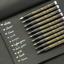 Marcador metálico canetas conjunto de 10 cores sortidas caneta de pintura premium para o livro de visitas do casamento de papel preto suprimentos de artesanato de vidro