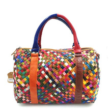 Genuine Leather Handmade Knitting Colorful Women Handbag with Belt for Shoulder Bag genuine leather shoulder bag for women with half texture hardware chain half leather belt shoulder straps