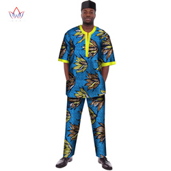 Hot Sale Custome Traditional African Print Dashiki for Men Casual Top & Trousers Set Plus Size African Clothing Men Set WYN102