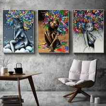 Abstract Graffiti African Girl with Fluffy Hair Posters and Prints Canvas Paintings Wall Art Pictures for Living Room Decor