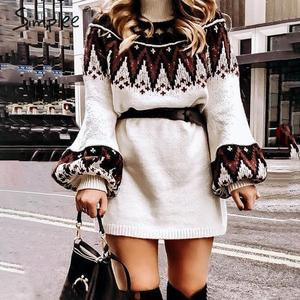 Image 1 - Simplee Geometric print knitted dress women Casual turtle neck pullover sweater dress female Autumn winter retro white vestidos