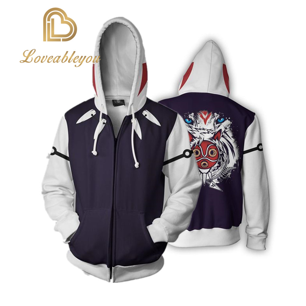 Cosplay Hoodies Sweatshirts Coat Hoodies Costume Legion Clothing Princess Mononoke 3D Printed Zipper Hoodies Tops