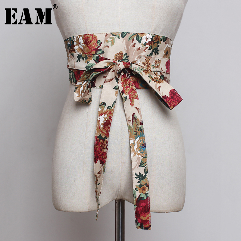 [EAM]  Black Multicolor Pattern Print Bow Long Wide Belt Personality Women New Fashion Tide All-match Autumn Winter 2019 1A250