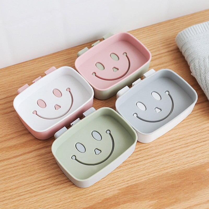 1PCS Plastic Soap Dish Plastic Bathroom Creative Smile Face Double Draining Soap Holder Non-slip Soap Box