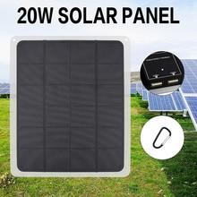 20W 5V Panel słoneczny z zacisk baterii ogniwa słoneczne na zewnątrz Camping piesze wycieczki z ładowarką samochodową na zewnątrz Camping awaryjne światło
