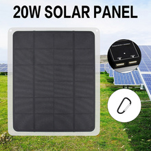 20W 5V Solar Panel with battery Clip Solar Cells for Outdoor Camping Hiking with Car Charger for Outdoor Camping Emergency Light
