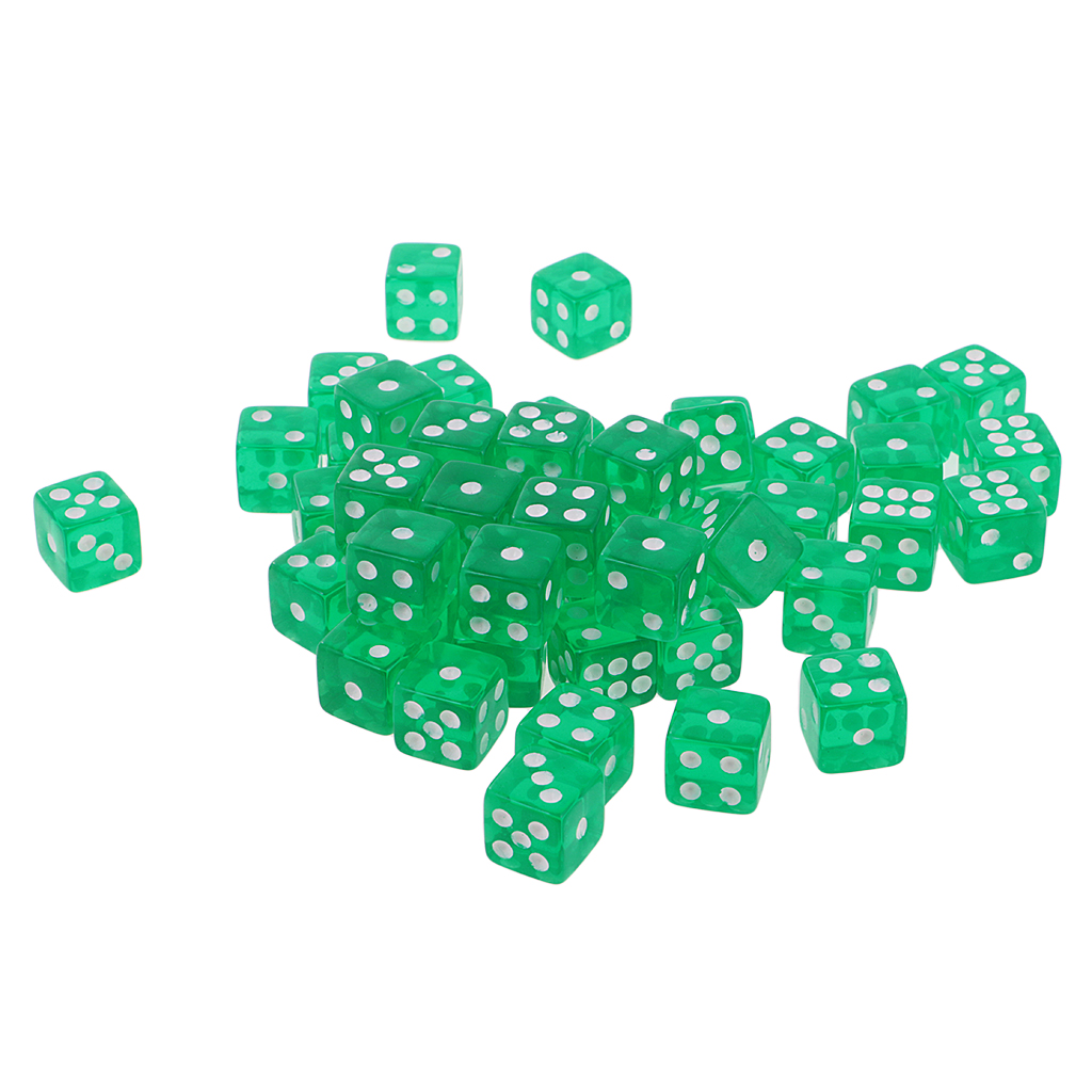 50PCS <font><b>D6</b></font> Polyhedral Game <font><b>Dice</b></font> 12mm For RPG Dungeons And Dragons Games <font><b>Green</b></font> image