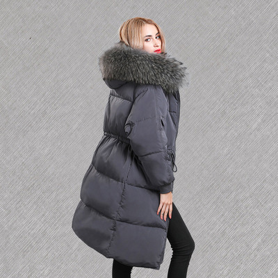 Hot Sale Korean Fashion Down Jacket Women Duck Down Long Hooded Jackets Natural Raccoon Fur Collar Female Parks LX2237