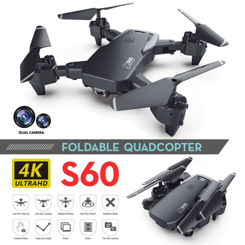 S60 Toy Drone Dual Camera Wide Angle Camera Wifi Fpv Foldable Height Keep Quadcopter With 4k Camera New Arrival Long Range Drone