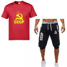 CCCP printed mens T-shirt + shorts two-piece Soviet Union Scotland KGB Moscow Russia cotton O-neck shirt