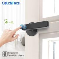 Fingerprint Handle Lock Biometric Digital Smart Door Lock Automatic Security Door Electronic lock for Home and Office Electric Lock     -