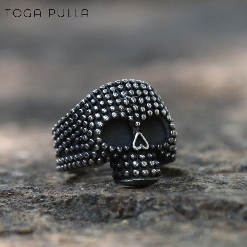 Vintage gótico prata aço inoxidável solavancos crânio anel masculino mulher gótico esqueleto biker jóias presentes de dia das bruxas tamanho 7-13