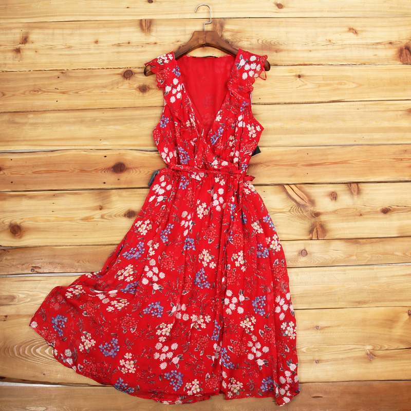 2019 New Spring Summer  Red Dress Floral Cool Thin Material Saving Zaraing Vadiming Sheining Women Dress
