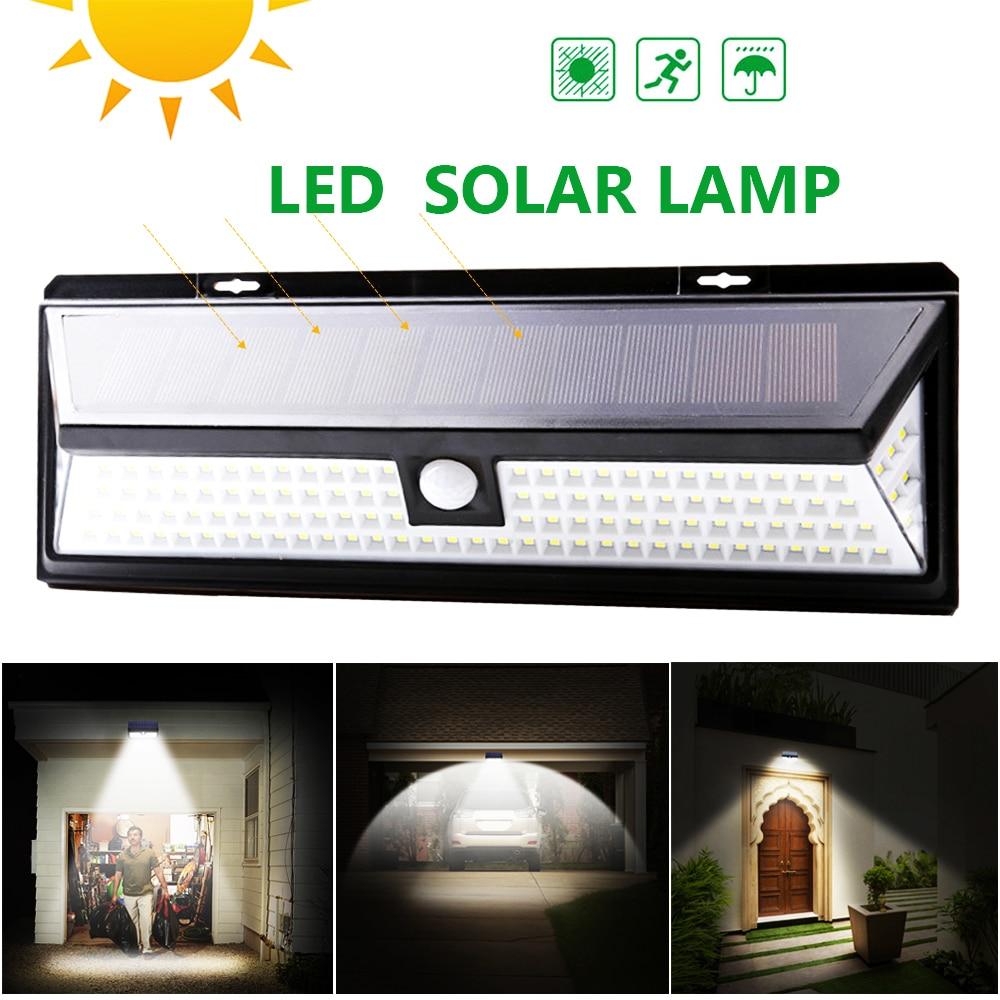 118 led 3 modos de energia solar pir sensor movimento parede luz ao ar livre a
